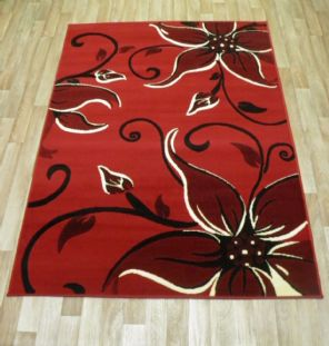 Modern Approx 7x5 150x210cm Woven Lily Design Rugs Sale Top Quality Red/Black
